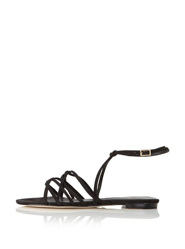 Delman Women's Skye Flat Sandal (Black)