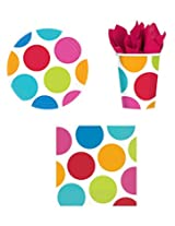 Cabana Dot Party Supply Pack For 8 Includes Plates, Cups & Napkins