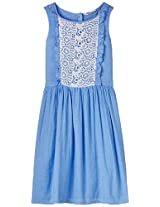 Chambray Laced Dress Light Blue 11Y