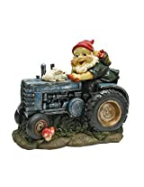 Design Toscano Bunny on Board the Tractor, Garden Gnome Statue
