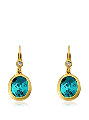 Riccova Arctic Mist 14K Gold Plated Matte Leverback Earrings with Oval Briolette Dangle/Aqua