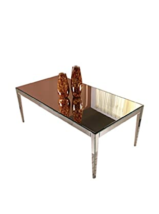 Mirage Mirrored Dining Table, Silver Leaf