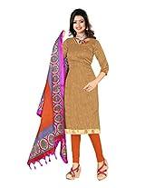 Khushali Presents Art Silk Chudidar Dress Material(Beige,Orange)