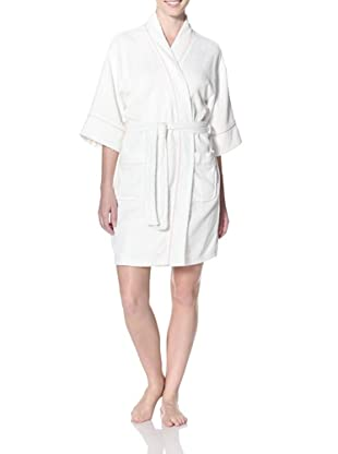 Aegean Apparel Women's Terry Kimono Robe (White/Pink)