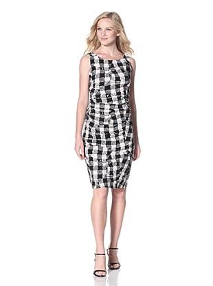 KAMALIKULTURE Women's Shirred Waist Dress (Black/White)