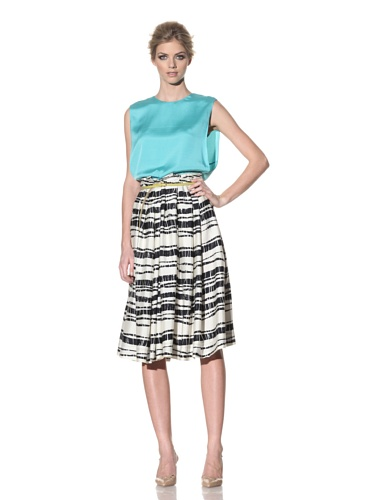 Rachel Roy Women's Bamboo Printed Pleat Skirt (Midnight)