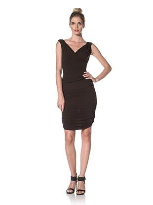 Norma Kamali Women's Shirred Knee-Length Skirt (Chocolate)