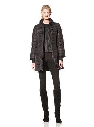 Nicole Miller Women's Ruched Front Puffer Coat (Black)