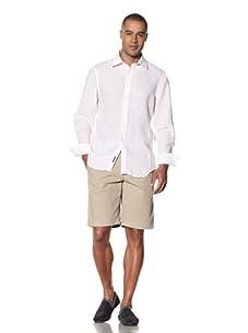 Report Collection Men's Linen Button-Front Shirt (White)