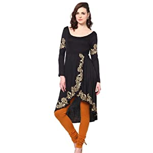 Irasoleil Women's Knitted Tulip Shaped Kurti with Gold Print