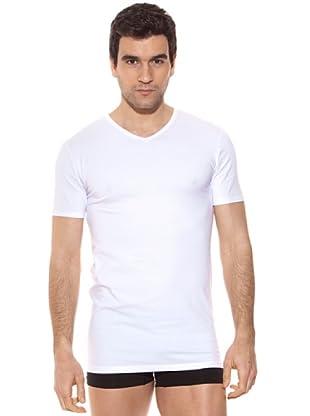 Kappa Camiseta mc Caballero Cuello Pico Algodón Elástico (Blanco)
