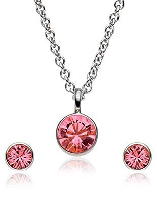Saint Francis Crystals Set, 3-teilig Kette und Ohrstecker Made With Swarovski® Elements silberfarben/rot