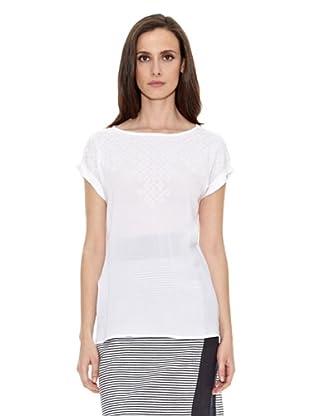 Cortefiel Camiseta Bordada Hilo (Blanco)