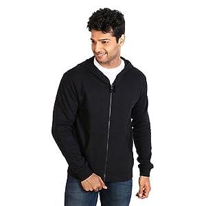 Campus Sutra Black Hooded Men Sweatshirt ZH M PLN BL