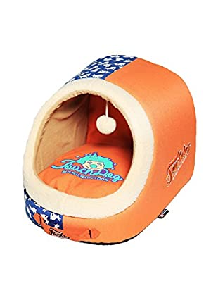 Touchdog Rabbit Pattern Active-Play Indoor Panoramic Designer Dog Bed, Orange/Ocean Blue