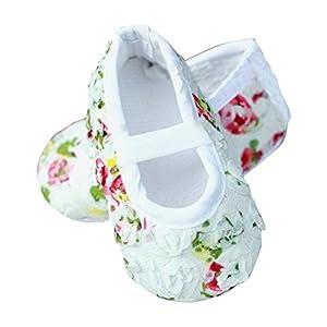 PinkXenia White rose shabby flower antiskid prewalker infant baby girl Soft Sole shoes.