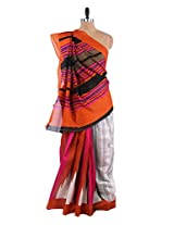Absolutely fantastic white and pink elegant saree with blouse piece