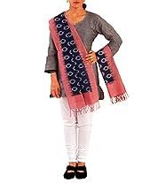 Unnati Silks Women Corporate blue-peach pink pure Pochampally cotton stole