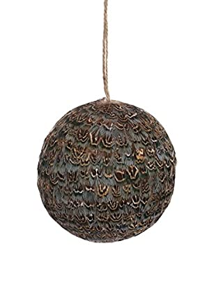 Winward Feather Ball Ornament, Brown/Gold