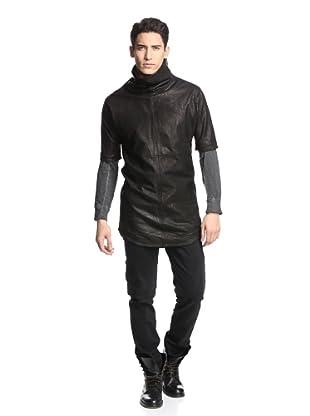 Alexandre Plokhov Men's Leather Zip Shirt (Black)