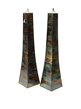 Outdoor Interiors Set of 2 Large Pyramid Oil Torches, Rainforest