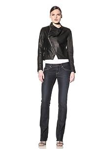 Hare + Hart Women's Schiller Leather Jacket (Black)