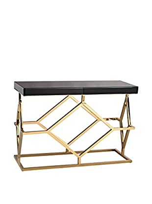 Artistic Luxe Deco Console Table, Gold Plate/Black