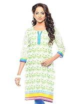 Purab Paschim women's Casual Printed CLASSIC GREEN Kurti