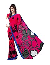 Anss Faux Georgette Saree (Anss0068 -Pink)