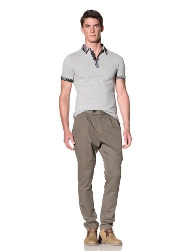 D by D Men's Contrast Camo Polo (Gray)