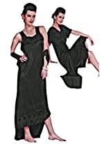 Indiatrendzs Women's Sexy Hot Nighty Black 2pc Set Honeymoon Eveningwear Dress