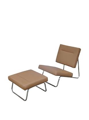 International Design USA Malaga Chair & Ottoman Set, Brown