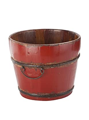 Antique Revival Wooden Sink Bucket (Red)