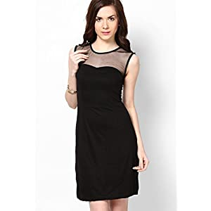Besiva Solid Shift Dress - Black