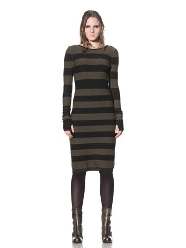 Rogan Women's Komachi Open-Back Fitted Sweater Dress (Striped Moss)