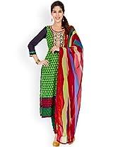 EthnicQueen Green Colour Super Fine Cotton Embroidered Dress Material.