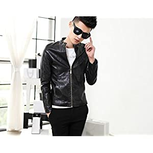 Onlyurs Slim Cut PU Leather Jacket with Zip Up Style