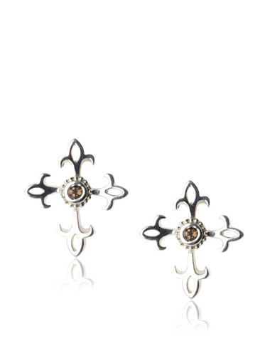 Catherine Angiel Fleur-De-Lis Stud Earrings, Silver/Smokey Topaz