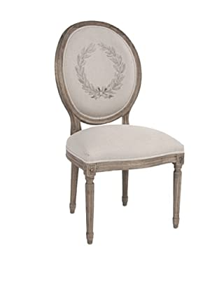 Zentique Medallion Linen & Oak Side Chair, Natural