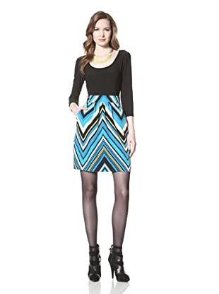 Miss Sixty Women's Lily Dress with Printed Skirt (Blue)