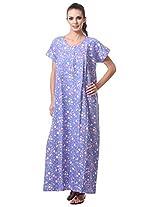 AF affair Women's Loose Fit Night Suit (PVT-4-C, Blue, L)