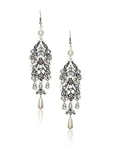 Leslie Danzis Antique Silver Vintage Inspired Pearl Dangle Earrings