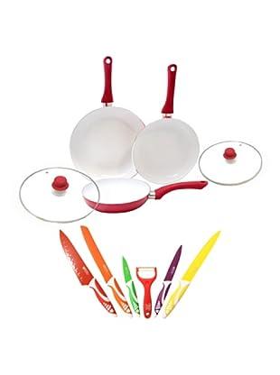 Alpine Set 7 Cuchillos + Set 3 Ceramic Pan Con Tapa Roja
