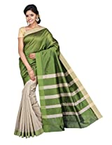 Korni Cotton Silk Banarasi Saree SHDEQ-316- Gray/Green KR0448