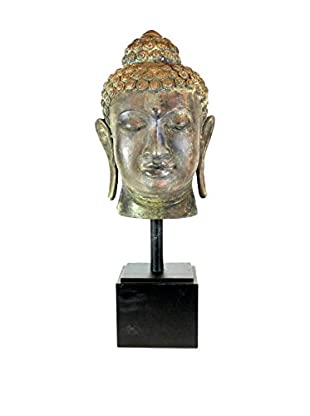 Asian Loft Bronze Buddha Head on Stand
