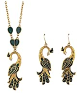 Crunchy Fashion Peacock Flaunt Rusty green Pendant Set for Girls