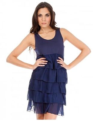 Cortefiel Kleid Volants (Dunkelblau)