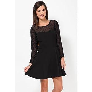 Polka Dot Print Black Dress With Mesh Open Back