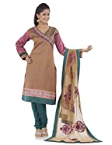 Burnt sienna printed embroidery readymade suit dupatta