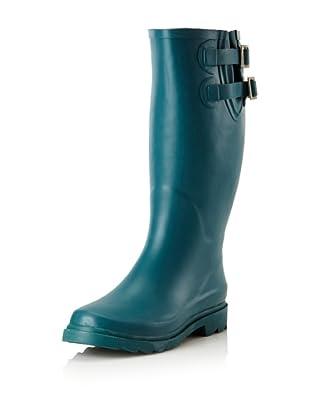 Chooka Women's Signature Solid Dual Buckle Rain Boot (Teal)